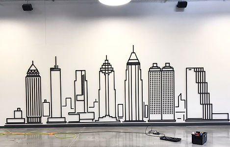 This is the finished Atlanta Skyline which was installed by Saha Design for Love Atlanta.  Saha Design provides cutting edge work to satisfy special, happening now, event manufacturing