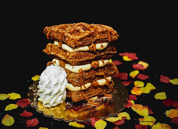 """Waffle"" Pumpkin Caramel Cheesecake"