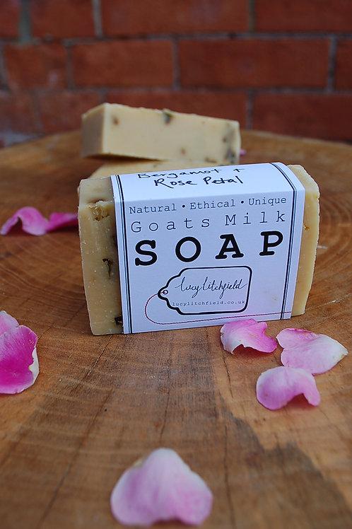Bergamot and Rose Petal Goats Milk Soap
