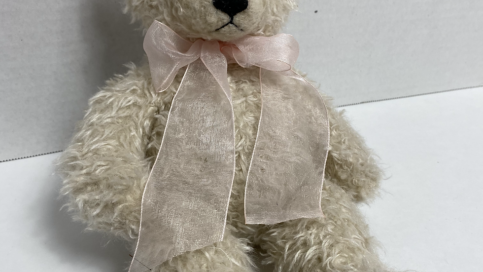 Stuffed White Bear with Bow