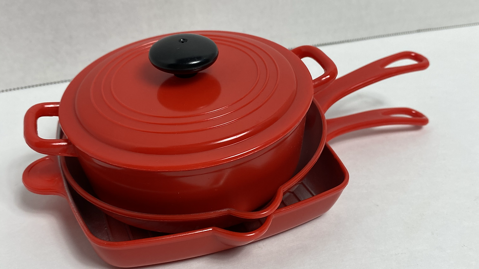 Mini Red Pots and Pans