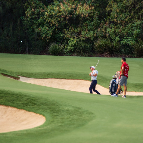 Paul Casey recovers from the bunker on the 5th