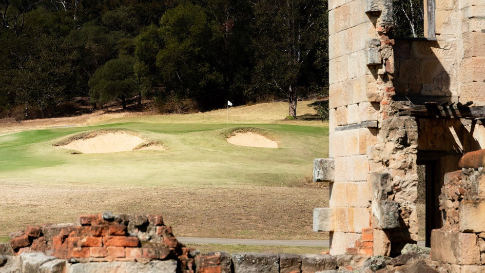17th green and ruins