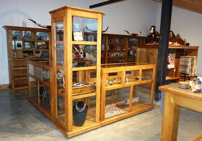 Ranch Rack Tall Custom Rolling Display Cabinet and Matching Showcases