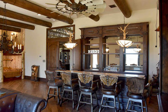 Beautiful Ranch House Bar with Custom Bar Stools