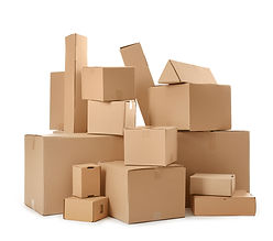 Pile of cardboard boxes isolated on whit
