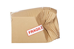 Damaged cardboard box,  isolated on whit
