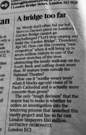 Garden Bridge chair's unconvincing response to the Hodge review
