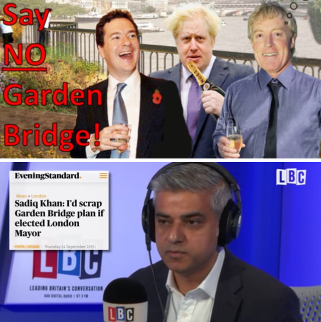 Thursday 30th June: Tell Sadiq & Coin St to join the Garden Bridge Leave campaign - GBrexit