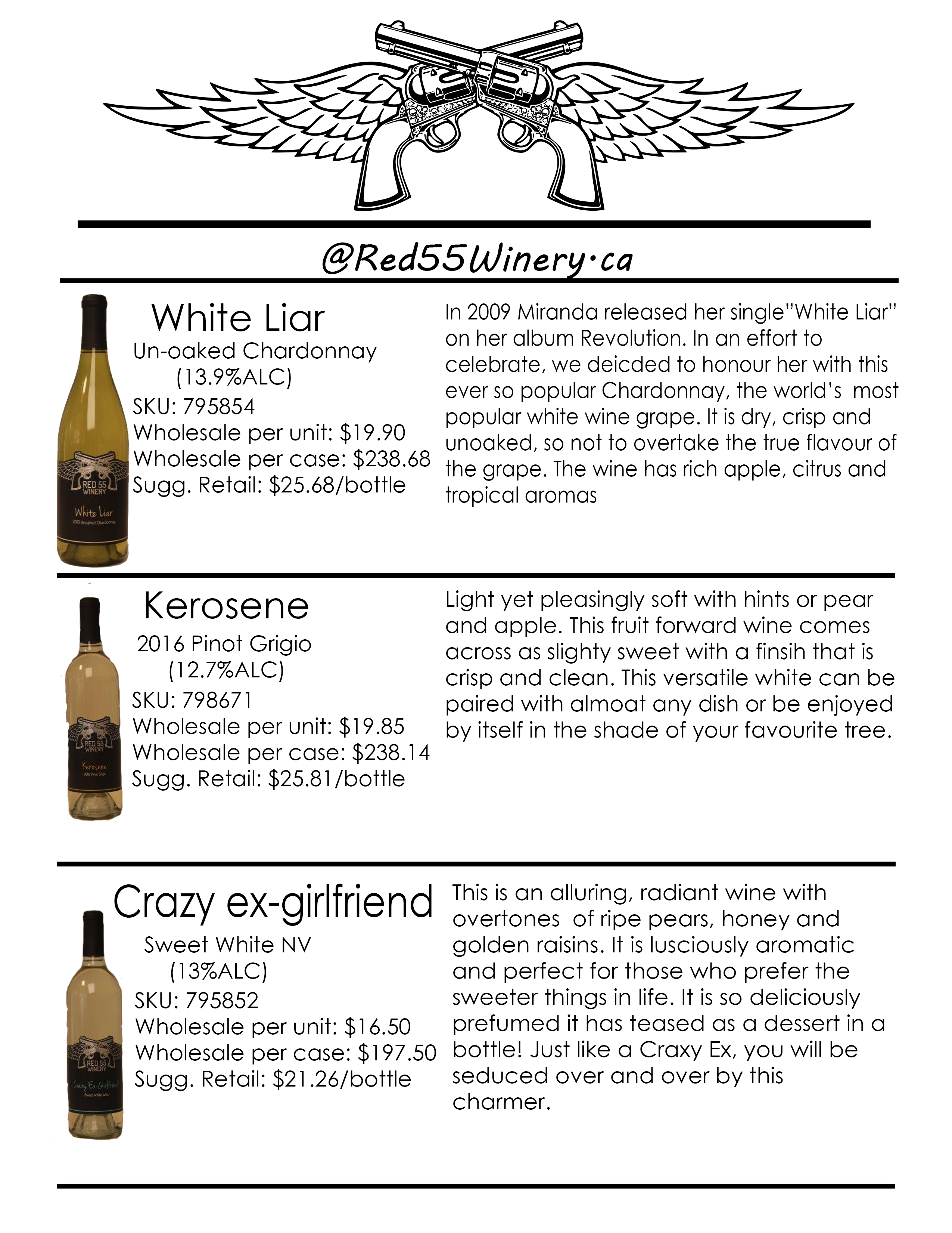 White Wine Sell Sheet