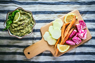 Roasted Kalette & White Bean Dip with Spring Crudités