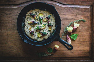 Rosemary & Shiso Skillet Flatbread with Wilted Okra Blossoms
