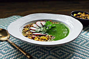 Spring Greens Miso Soup with Turmeric Granola