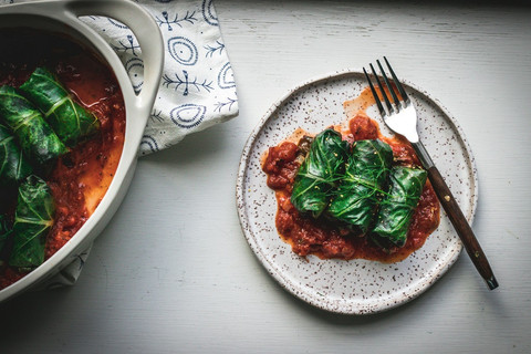 Rice & Shiitake Filled Collard Rolls with Marinara Sauce