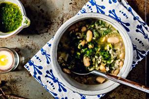 Mixed Greens Soup with Cilantro Pistou