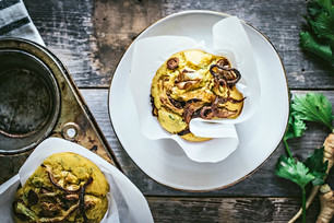 Parsnip & Smoked Mozzarella Corn Muffins with Caramelized Spring Onions