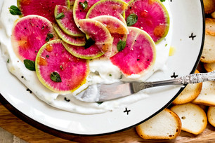 Watermelon Radish Carpaccio with Lemon Mint Yogurt