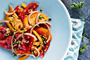 Tomato Salad with Balsamic Pickled Green Coriander & Shallots