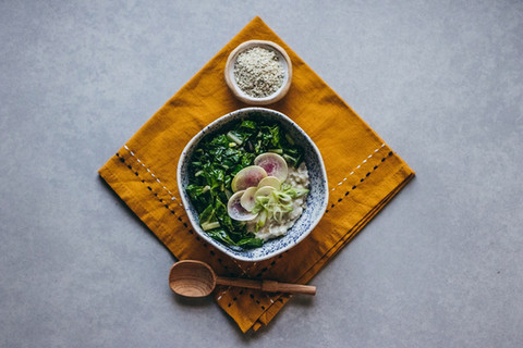 Savory Breakfast Bowl with Chard & Sunflower Seed Dukkah