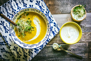 Coconut Milk Carrot Soup with Spiced Yogurt
