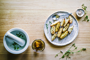 Salt & Pepper Roasted Potatoes with Pickled Green Coriander