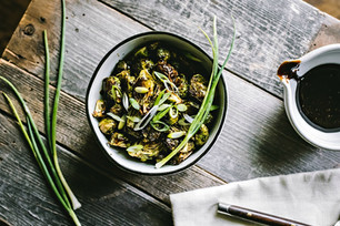 Rosemary Roasted Brussels Sprouts with Maple Balsamic Drizzle