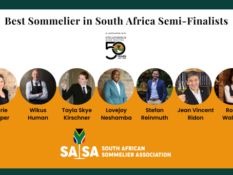 Semi-Finalists for the Best Sommelier of South African in partnership with Stellenbosch Wine Route