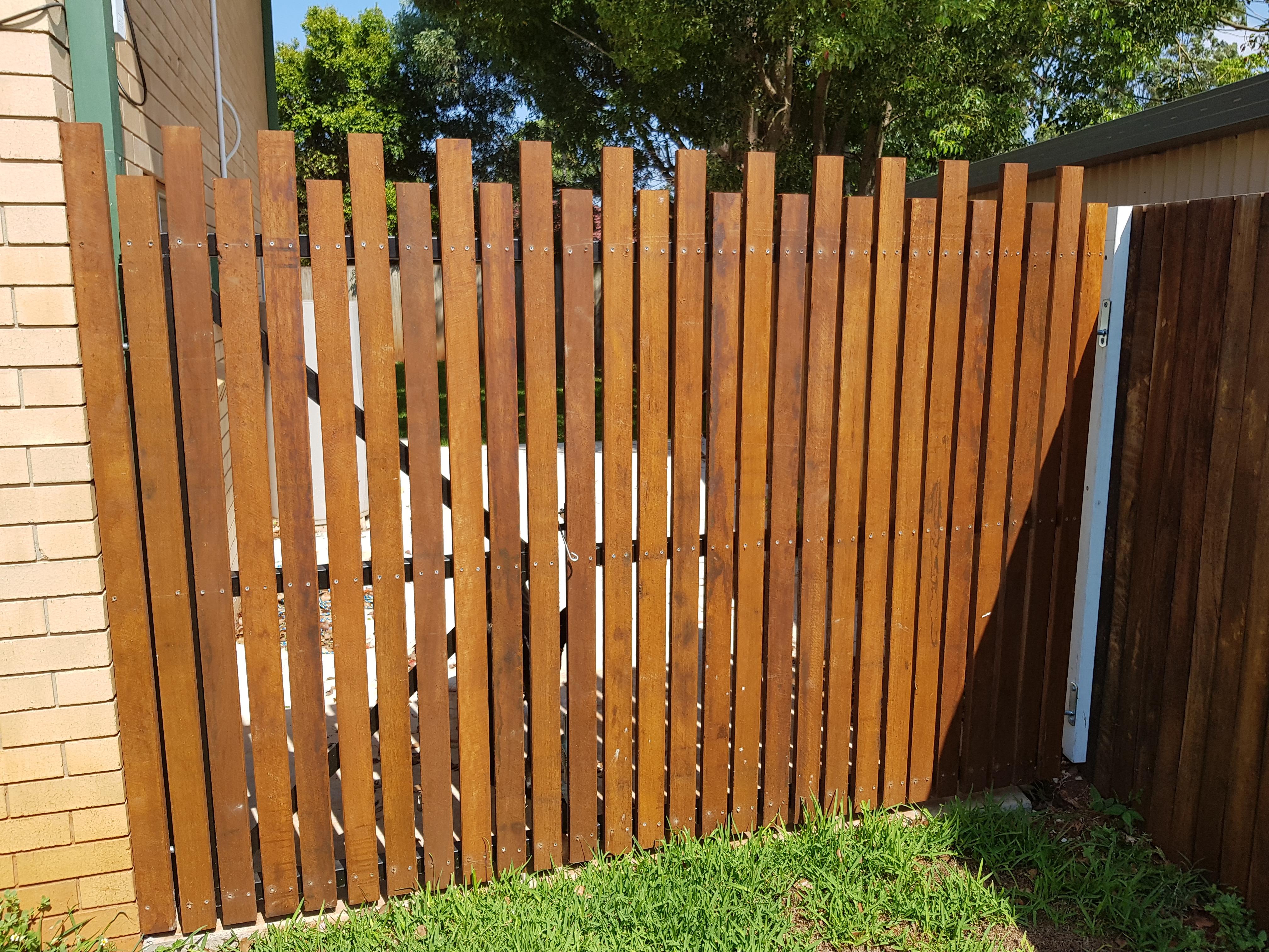 Hardwood side fence