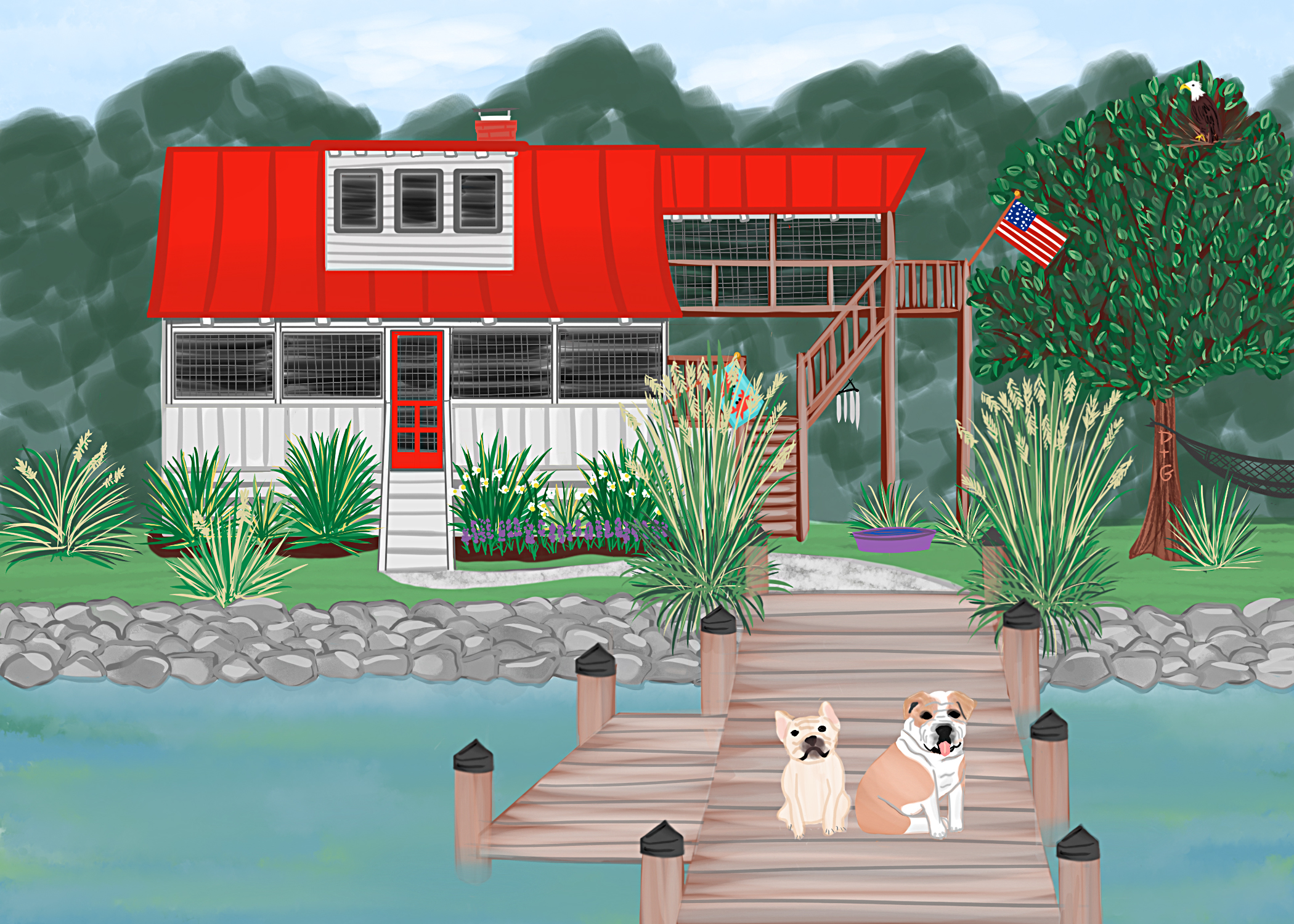 A custom portrait of HOME & Pups.