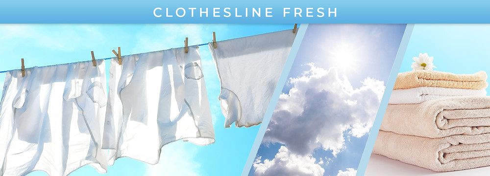 Fresh clean laundry on a clothesline, sunny blue skies, folded towels
