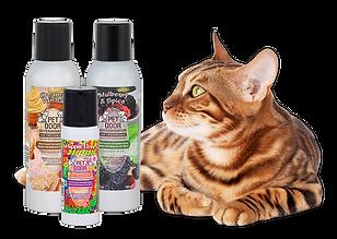 Bengal cat, Pet Odor Exterminator sprays, Creamy Vanilla, Mulberry and Spice, Hippie Love, pet odor, cat odor, remove odors