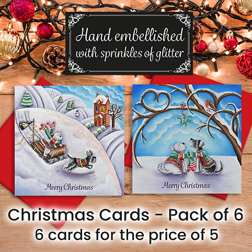 Pack of 6 Christmas cards by Lydia Streets