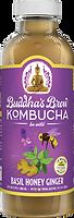 Buddhas Brew Kombucha Basil Honey Ginger 16oz Pint Bottle
