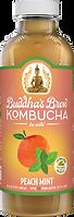 Buddhas Brew Kombucha Peach Mint 16oz Pint Bottle