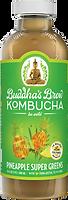 Buddhas Brew Kombucha Pineapple Super Greens 16oz Pint Bottle