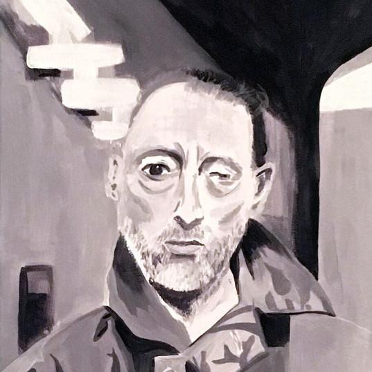 Portraitmalerei, Thom Yorke  Acryl auf Leinwand  Malen  Juli 2019