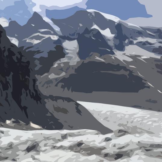 Bergpanorama, Postkarte Photoshop  Grafik  Januar 2018