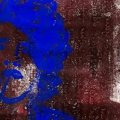 Portrait Matty Healy, abstrahiert  Acryl auf Papier  Drucktechnik, Monotypie  Februar 2017