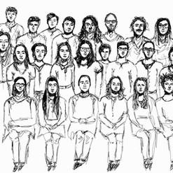 Klassenfoto  schwarzer Feinleiner auf Papier  Zeichnen  Juni 2017
