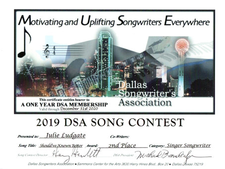 2nd Place Winner in the DSA Song Contest