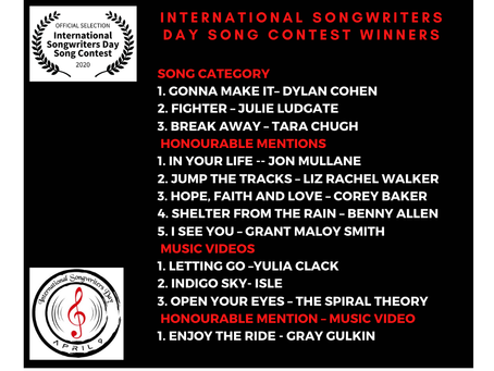 International Songwriters Day Song Contest Winner!