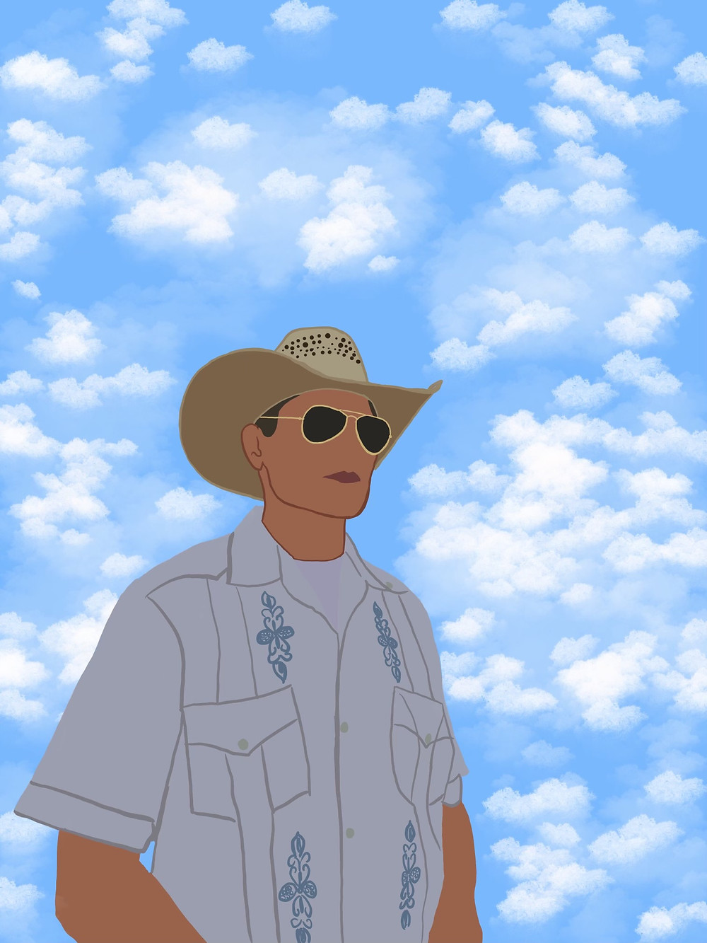A man in aviator glasses, cowboy hat, and guayabera shirt stands in front of a cloud-dotted sky.