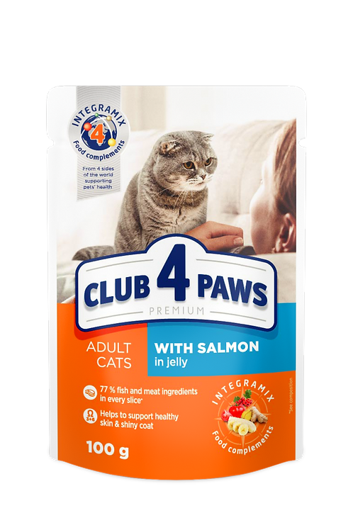 """CLUB 4 PAWS Premium """"With salmon in jelly"""". Pouches pet food for adult cats"""