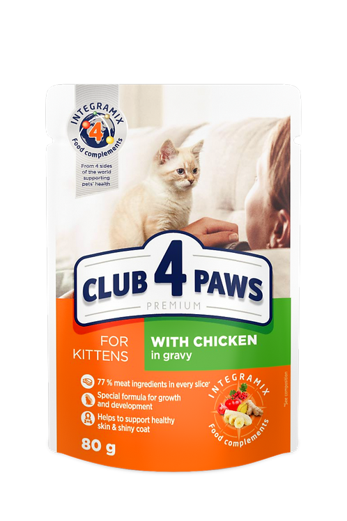 """CLUB 4 PAWS Premium for kittens """"With chicken in gravy"""""""