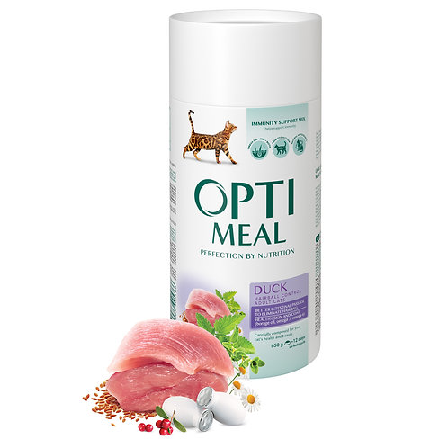 OPTIMEAL - Complete dry pet food for adult cats hairball control duck