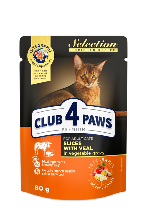 """CLUB 4 PAWS Premium """"Slices with veal in vegetable gravy"""". Complete pouches"""