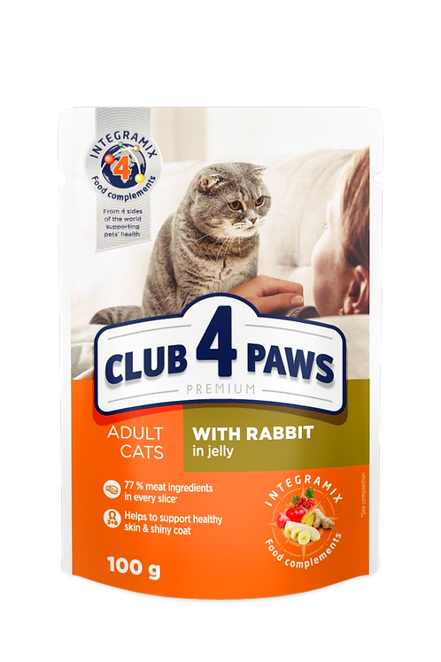 """CLUB 4 PAWS Premium """"With rabbit in jelly"""". Complete pouches for adult cats"""