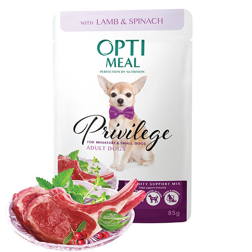 OPTIMEAL - Wet Food for Miniature and Small Breeds - Lamb and Spinach