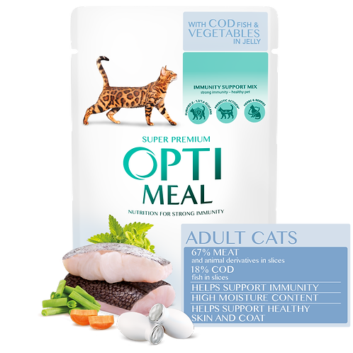 OPTIMEAL - Complete Wet Food for Adult Cats - Cod Fish and Veggies