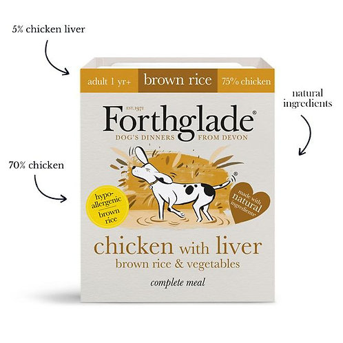 Forthglade - Chicken with liver, brown rice & vegetables (Adult)